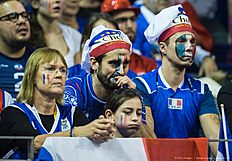 France supporters look disappointed after their team lost a point during the final match France vs Russia of the 2016 Men's Volleyball Olympic Qualification tournament in Berlin January 10, 2016. / AFP / John MACDOUGALL