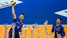 France's Antonin Rouzier spikes the ball in the final match France vs Russia of the 2016 Men's Volleyball Olympic Qualification tournament in Berlin January 10, 2016. / AFP / John MACDOUGALL
