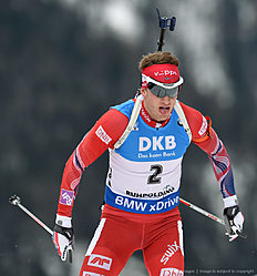 Norwegian Tarjei Boe is pictured during the men 12,5 kilometer pursuit competition at the Biathlon World Cup on January 09, 2016 in Ruhpolding, southern Germany. / AFP / Christof STACHE