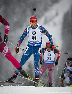 RUHPOLDING, GERMANY — JANUARY 13: Michal Slesingr of CZE in action during the mens 20km Biathlon race at the IBU Biathlon World Cup Ruhpolding on January 13, 2016 in Ruhpolding, Germany.