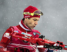 RUHPOLDING, GERMANY — JANUARY 13: Ole Einar Bjoerndalen of Norway in action during the Men's 20km Biathlon race at the IBU Biathlon World Cup Ruhpolding on January 13, 2016 in Ruhpolding, Germany.