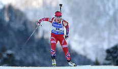 Norwegian Tiril Eckhoff competes during the ladies 15 kilometer individual competition at the Biathlon World Cup on January 14, 2016 in Ruhpolding, southern Germany. / AFP / Christof STACHE