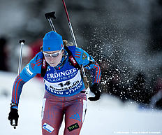 RUHPOLDING, GERMANY — JANUARY 14: Olga Podchufarova of Russia in action during the Women's 25 km individual Biathlon race at the IBU Biathlon World Cup Ruhpolding on January 14, 2016 in Ruhpolding, Germany.