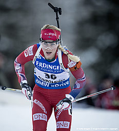 RUHPOLDING, GERMANY — JANUARY 14: Tiril Eckhoff of Norway in action during the Women's 25 km individual Biathlon race at the IBU Biathlon World Cup Ruhpolding on January 14, 2016 in Ruhpolding, Germany.