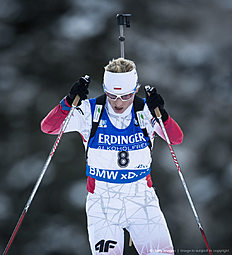 RUHPOLDING, GERMANY — JANUARY 14: Krystyna Guzik of Poland in action during the Women's 25 km individual Biathlon race at the IBU Biathlon World Cup Ruhpolding on January 14, 2016 in Ruhpolding, Germany.