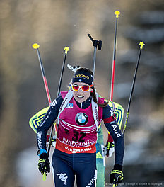 RUHPOLDING, GERMANY — JANUARY 14: Dorothea Wierer of Italy in action during the Women's 25 km individual Biathlon race at the IBU Biathlon World Cup Ruhpolding on January 14, 2016 in Ruhpolding, Germany.
