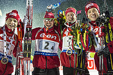 RUHPOLDING, GERMANY — JANUARY 15: Ole Einar Bjoerndalen, Emil Hegle Svendsen, Johannes Thingnes Boe and Tarjei Boe of Norway celebrate victory after the Men's 4 x 7.5 km relay Biathlon race at the IBU Biathlon World Cup Ruhpolding on January 15, 2016 in Ruhpolding, Germany.