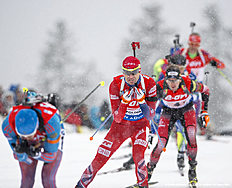 RUHPOLDING, GERMANY — JANUARY 15: Ole Einar Bjoerndalen of Norway in action during the Menu00abs 4 x 7.5 km relay Biathlon race at the IBU Biathlon World Cup Ruhpolding on January 15, 2016 in Ruhpolding, Germany.