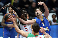 MOSCOW, RUSSIA — JANUARY 15: Alexey Shved, #1 of Khimki Moscow Region competes with Mamadou Diop, #4 of Laboral Kutxa Vitoria Gasteiz in action during the Turkish Airlines Euroleague Basketball Top 16 Round 3 game between Khimki Moscow Region v Laboral Kutxa Vitoria Gasteiz at Krylatskoye Arena on January 15, 2016 in Moscow, Russia.