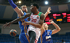 MOSCOW, RUSSIA — JANUARY 15: Darius Adams, #20 of Laboral Kutxa Vitoria Gasteiz competes with Dmitry Sokolov, #10 of Khimki Moscow Region in action during the Turkish Airlines Euroleague Basketball Top 16 Round 3 game between Khimki Moscow Region v Laboral Kutxa Vitoria Gasteiz at Krylatskoye Arena on January 15, 2016 in Moscow, Russia.