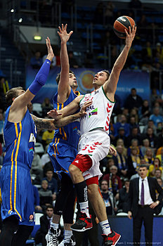 MOSCOW, RUSSIA — JANUARY 15: Fabien Causeur, #5 of Laboral Kutxa Vitoria Gasteiz competes with Alexey Shved, #1 of Khimki Moscow Region in action during the Turkish Airlines Euroleague Basketball Top 16 Round 3 game between Khimki Moscow Region v Laboral Kutxa Vitoria Gasteiz at Krylatskoye Arena on January 15, 2016 in Moscow, Russia.
