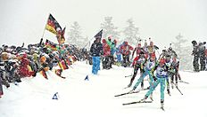 Athletes compete during the women's 12,5 kilometer mass start competition at the Biathlon World Cup on January 16, 2016 in Ruhpolding, southern Germany. nCzech Gabriela Soukalova won the competition, German Franziska Hildebrand placed second and German Laura Dahlmeier placed third. / AFP / Christof STACHE