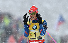 Czech Gabriela Soukalova reacts during the warm up shooting ahead the women's 12,5 kilometer mass start competition at the Biathlon World Cup on January 16, 2016 in Ruhpolding, southern Germany. nCzech Gabriela Soukalova won the competition, German Franziska Hildebrand placed second and German Laura Dahlmeier placed third. / AFP / Christof STACHE