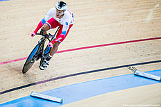 HONG KONG — JANUARY 16: Viktor Manakov of Russia competes during the Men's omnium individual pursuit as part of the UCI Track World Cycling on January 16, 2016 in Hong Kong, Hong Kong.
