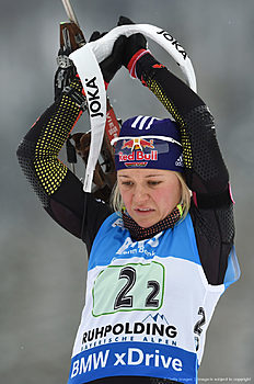 German Miriam Goessner pictured competes during the warm up shooting ahead the women's 4 x 6 relay competition at the Biathlon World Cup on January 17, 2016 in Ruhpolding, southern Germany.nThe team of Ukraine won the competition, Germany placed second and Italy placed third. / AFP / Christof STACHE
