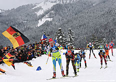 athletes compete during the women's 4 x 6 relay competition at the Biathlon World Cup on January 17, 2016 in Ruhpolding, southern Germany.nThe team of Ukraine won the competition, Germany placed second and Italy placed third. / AFP / Christof STACHE