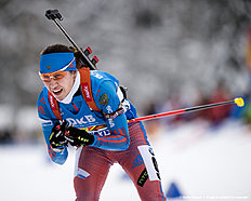 RUHPOLDING, GERMANY — JANUARY 17: Daria Virolaynen of Russia in action during the Women 4 x 5 km relay Biathlon race at the IBU Biathlon World Cup Ruhpolding on January 17, 2016 in Ruhpolding, Germany.