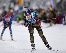 RUHPOLDING, GERMANY — JANUARY 17: Miriam Goessner of Germany in action during the Women 4 x 5 km relay Biathlon race at the IBU Biathlon World Cup Ruhpolding on January 17, 2016 in Ruhpolding, Germany.