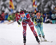 RUHPOLDING, GERMANY — JANUARY 17: Fanny Horn Birkeland of Norway in action during the Women 4 x 5 km relay Biathlon race at the IBU Biathlon World Cup Ruhpolding on January 17, 2016 in Ruhpolding, Germany.