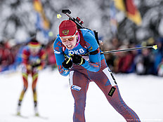 RUHPOLDING, GERMANY — JANUARY 17: Ekaterina Shumilova of Russia in action during the Women 4 x 5 km relay Biathlon race at the IBU Biathlon World Cup Ruhpolding on January 17, 2016 in Ruhpolding, Germany.