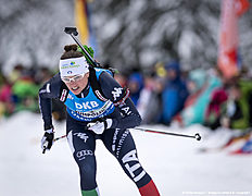 RUHPOLDING, GERMANY — JANUARY 17: Karin Oberhofer of Italia in action during the Women 4 x 5 km relay Biathlon race at the IBU Biathlon World Cup Ruhpolding on January 17, 2016 in Ruhpolding, Germany.