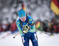 RUHPOLDING, GERMANY — JANUARY 17: Olga Poltoranina of Kazakhstan in action during the Women 4 x 5 km relay Biathlon race at the IBU Biathlon World Cup Ruhpolding on January 17, 2016 in Ruhpolding, Germany.
