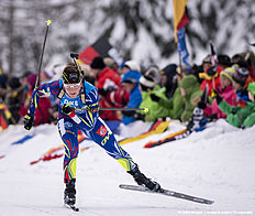 RUHPOLDING, GERMANY — JANUARY 17: Justine Braisaz of France in action during the Women 4 x 5 km relay Biathlon race at the IBU Biathlon World Cup Ruhpolding on January 17, 2016 in Ruhpolding, Germany.