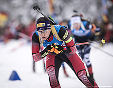 RUHPOLDING, GERMANY — JANUARY 17: Susanne Hoffmann of Austria in action during the Women 4 x 5 km relay Biathlon race at the IBU Biathlon World Cup Ruhpolding on January 17, 2016 in Ruhpolding, Germany.