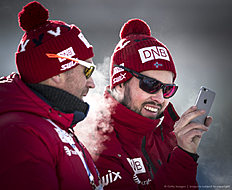 ANTHOLZ-ANTERSELVA, ITALY — JANUARY 19: Coach Stian Eckhoff and coach Joar Himle of Norway during the Biathlon training at the IBU Biathlon World Cup Antholtz on January 19, 2016 in Antholtz, Italy.