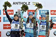 ANTHOLZ-ANTERSELVA, ITALY — JANUARY 21: (FRANCE OUT) Olga Podchufarova of Russia takes 1st place, Dorothea Wierer of Italy takes 2nd place, Ekaterina Yurlova of Russia takes 3rd place during the IBU Biathlon World Cup Women's Sprint on January 21, 2016 in Antholz-Anterselva, Italy. (Photo by Vianney Thibaut/Agence Zoom/Getty Images)