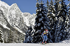 ANTHOLZ-ANTERSELVA, ITALY — JANUARY 21: (FRANCE OUT) Gabriela Soukalova of the Czech Republic competes during the IBU Biathlon World Cup Women's Sprint on January 21, 2016 in Antholz-Anterselva, Italy.
