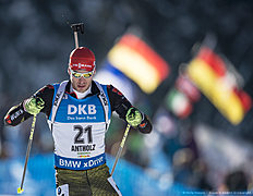 ANTHOLZ-ANTERSELVA, ITALY — JANUARY 22: Arnd Peiffer of Germany in action during the Biathlon Men 10 km Sprint at the IBU Biathlon World Cup Antholtz on January 22, 2016 in Antholtz, Italy.