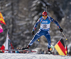 ANTHOLZ-ANTERSELVA, ITALY — JANUARY 22: Michal Slesingr of Czech Republic in action during the Biathlon Men 10 km Sprint at the IBU Biathlon World Cup Antholtz on January 22, 2016 in Antholtz, Italy.