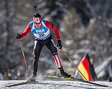 ANTHOLZ-ANTERSELVA, ITALY — JANUARY 22: Nathan Smith of Canada in action during the Biathlon Men 10 km Sprint at the IBU Biathlon World Cup Antholtz on January 22, 2016 in Antholtz, Italy.