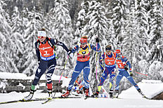 ANTHOLZ-ANTERSELVA, ITALY — JANUARY 23: (FRANCE OUT) Marie Dorin Habert of France competes during the IBU Biathlon World Cup Women's Pursuit on January 23, 2016 in Antholz-Anterselva, Italy.