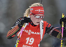 ANTHOLZ-ANTERSELVA, ITALY — JANUARY 23: Franziska Hildebrand of Germany in action during the Biathlon Women 10 km Pursuit at the IBU Biathlon World Cup Antholtz on January 23, 2016 in Antholtz, Italy.