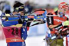 ANTHOLZ-ANTERSELVA, ITALY — JANUARY 23: (FRANCE OUT) Martin Fourcade of France competes during the IBU Biathlon World Cup Men's and Women's Pursuit on January 23, 2016 in Antholz-Anterselva, Italy.