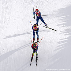 ANTHOLZ-ANTERSELVA, ITALY — JANUARY 23: Marie Habert Dorin of France, Gabriela Soukalova of Czech, Veronica Vitkova of Czech in action during the Biathlon Women 10 km Pursuit at the IBU Biathlon World Cup Antholtz on January 23, 2016 in Antholtz, Italy.