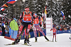 ANTHOLZ-ANTERSELVA, ITALY — JANUARY 23: (FRANCE OUT) Simon Eder of Austria competes during the IBU Biathlon World Cup Men's and Women's Pursuit on January 23, 2016 in Antholz-Anterselva, Italy.
