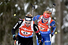 ANTHOLZ-ANTERSELVA, ITALY — JANUARY 24: (FRANCE OUT) Gabriela Soukalova of the Czech Republic takes 2nd place during the IBU Biathlon World Cup Men's and Women's Relay on January 24, 2016 in Antholz-Anterselva, Italy.