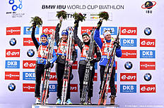 ANTHOLZ-ANTERSELVA, ITALY — JANUARY 24: (FRANCE OUT) Team France takes 1st place during the IBU Biathlon World Cup Men's and Women's Relay on January 24, 2016 in Antholz-Anterselva, Italy.