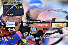 ANTHOLZ-ANTERSELVA, ITALY — JANUARY 24: (FRANCE OUT) Marie Dorin Habert of France takes 1st place during the IBU Biathlon World Cup Men's and Women's Relay on January 24, 2016 in Antholz-Anterselva, Italy.