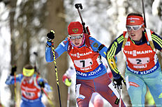 ANTHOLZ-ANTERSELVA, ITALY — JANUARY 24: (FRANCE OUT) Ekaterina Shumilova of Russia takes 3rd place during the IBU Biathlon World Cup Men's and Women's Relay on January 24, 2016 in Antholz-Anterselva, Italy.