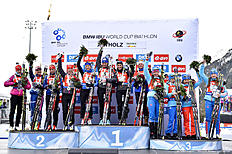 ANTHOLZ-ANTERSELVA, ITALY — JANUARY 24: (FRANCE OUT) Team France takes 1st place, Team Czech Republic takes 2nd place, Team Russia Takes 3rd place during the IBU Biathlon World Cup Men's and Women's Relay on January 24, 2016 in Antholz-Anterselva, Italy.