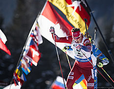 ANTHOLZ-ANTERSELVA, ITALY — JANUARY 24: Jon Helge Birkeland of Norway in action during the Biathlon Men 4x7,5 km Relay at the IBU Biathlon World Cup Antholtz on January 24, 2016 in Antholtz, Italy.