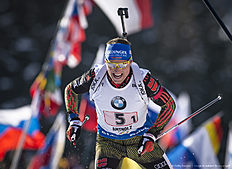 ANTHOLZ-ANTERSELVA, ITALY � JANUARY 24: Erik Lesser of Germany in action during the Biathlon Men 4x7,5 km Relay at the IBU Biathlon World Cup Antholtz on January 24, 2016 in Antholtz, Italy.