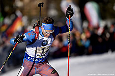 ANTHOLZ-ANTERSELVA, ITALY — JANUARY 24: (FRANCE OUT) Maxim Tsvetkov of Russia takes 1st place during the IBU Biathlon World Cup Men's and Women's Relay on January 24, 2016 in Antholz-Anterselva, Italy.