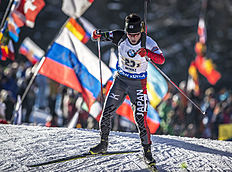 ANTHOLZ-ANTERSELVA, ITALY — JANUARY 24: Tsukasa Kobonki of Japan in action during the Biathlon Men 4x7,5 km Relay at the IBU Biathlon World Cup Antholtz on January 24, 2016 in Antholtz, Italy.