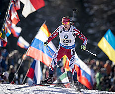 ANTHOLZ-ANTERSELVA, ITALY — JANUARY 24: Lee-Steve Jackson of Great Britain in action during the Biathlon Men 4x7,5 km Relay at the IBU Biathlon World Cup Antholtz on January 24, 2016 in Antholtz, Italy.