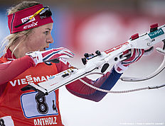 ANTHOLZ-ANTERSELVA, ITALY — JANUARY 24: Tiril Eckhoff of Norway in action during the Biathlon Women 4x6 km Relay at the IBU Biathlon World Cup Antholtz on January 24, 2016 in Antholtz, Italy.